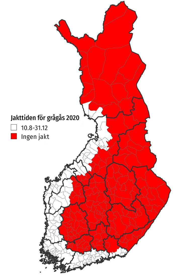 Kartan: Jaktområden av grågås 2020