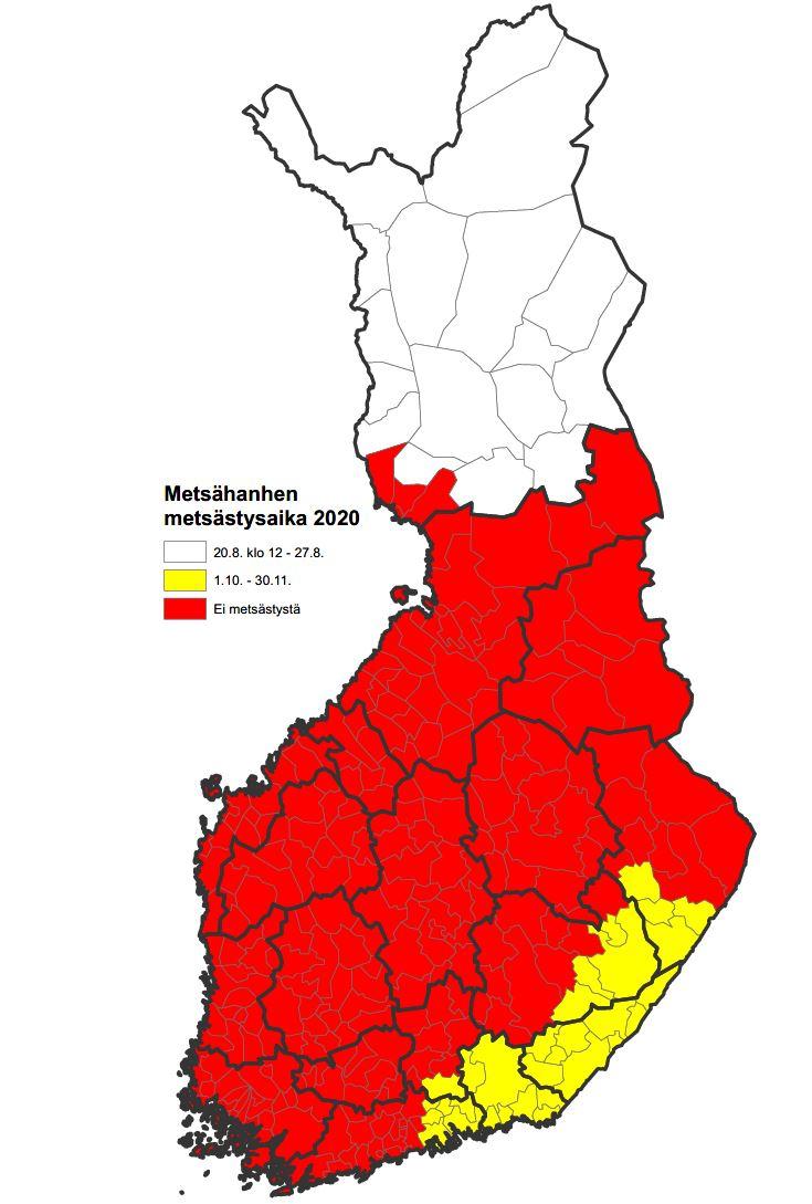 Kartta metsähanhen metsästysajoista ja -alueista vuonna 2020.
