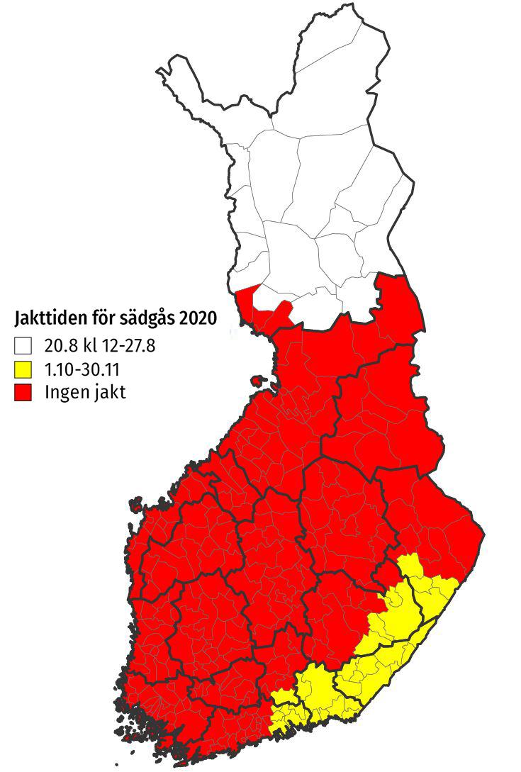 Kartan: Jaktområden av sädgås 2020