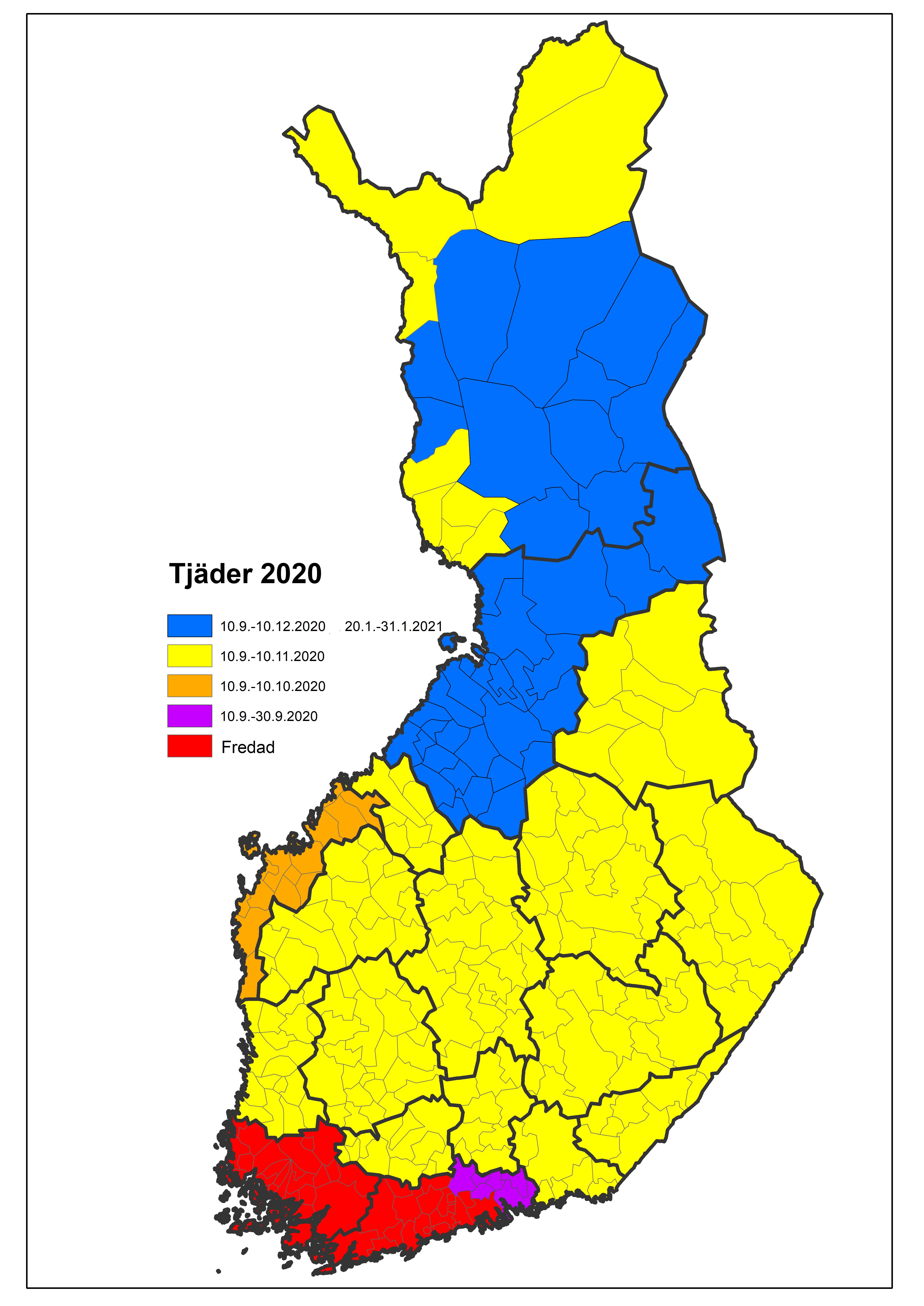 Kartan: Jakttider av tjäder 2020.