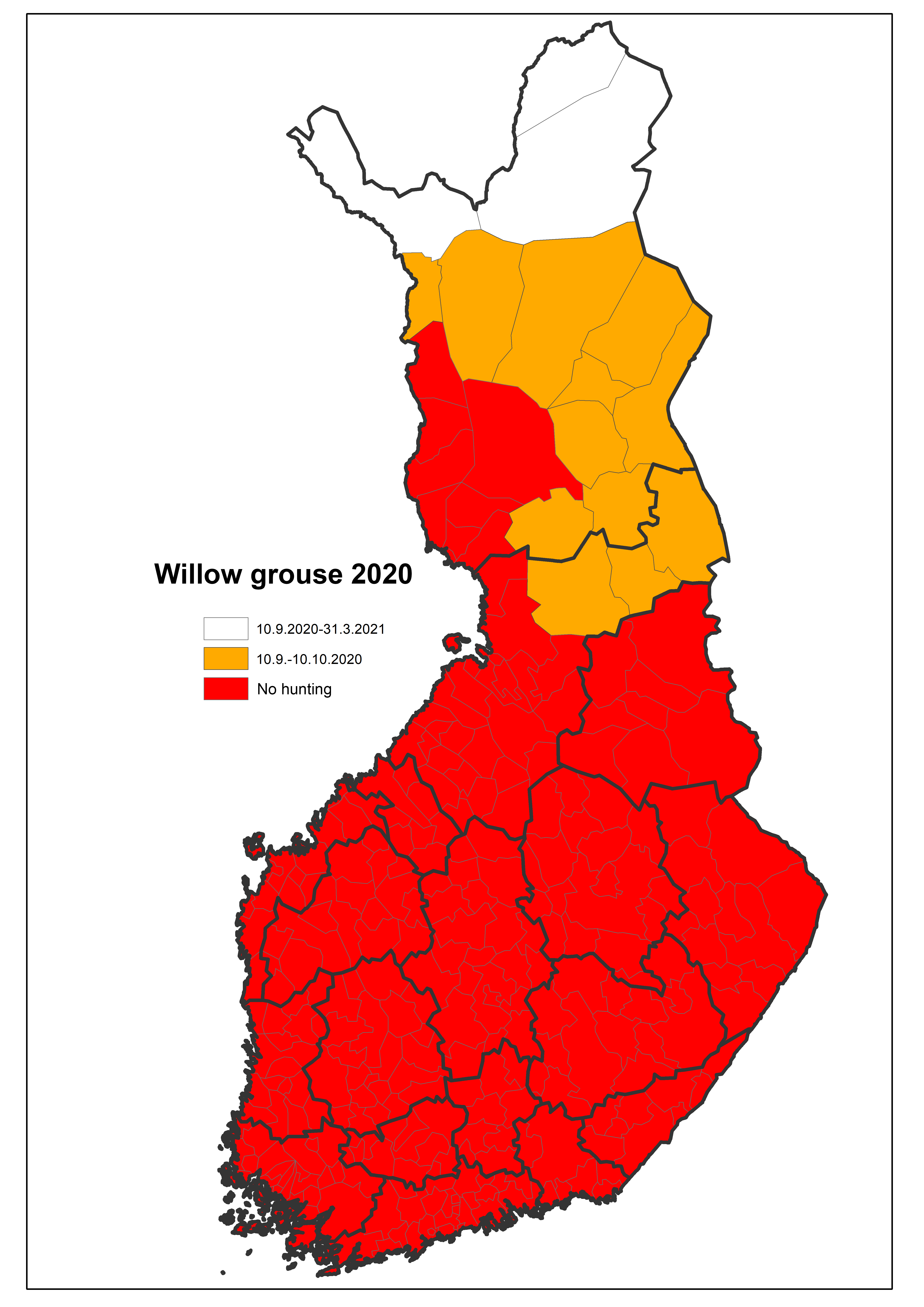 Map of hunting areas and seasons year 2020: Willow grouse.