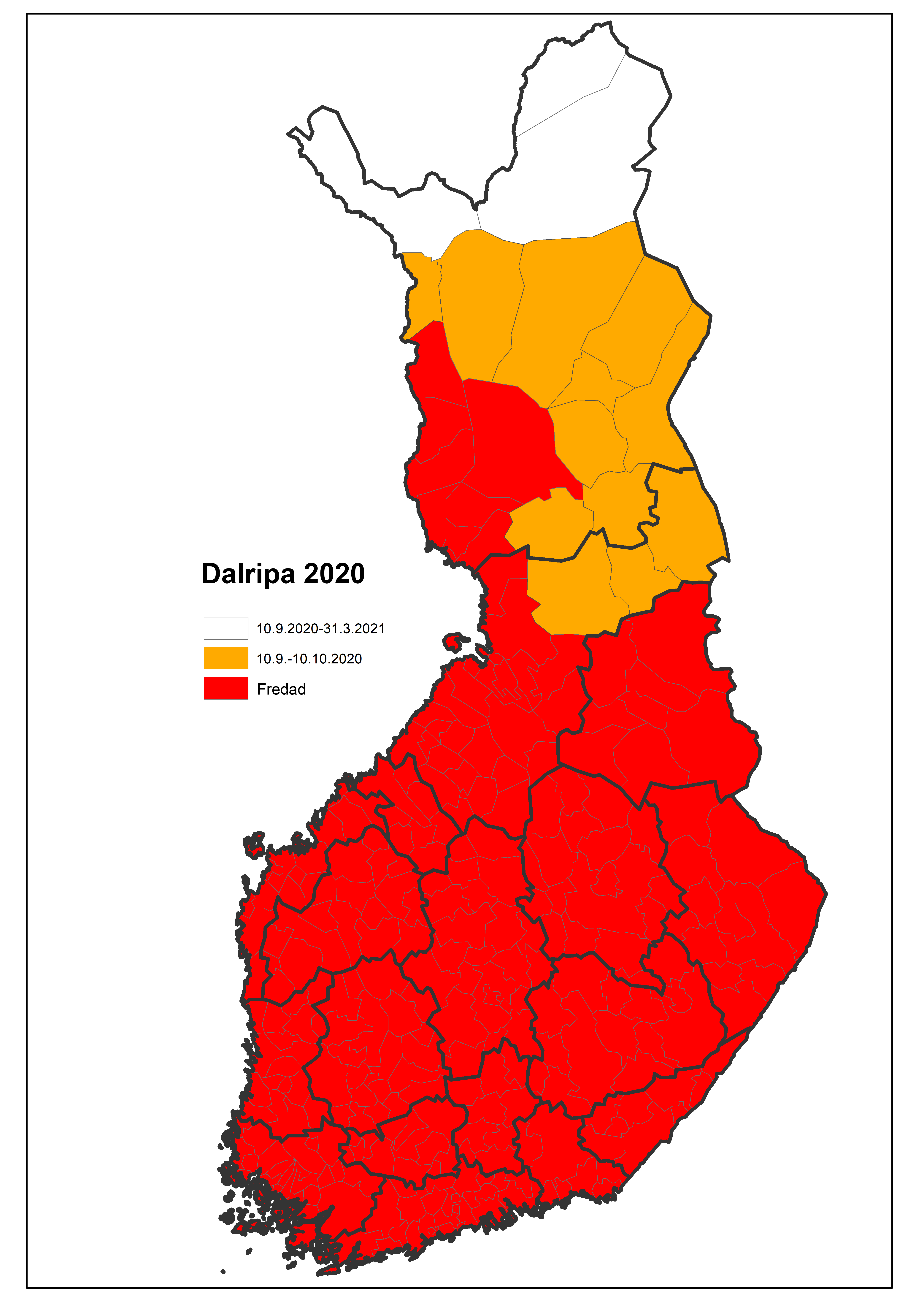 Kartan: Jakttider av dalripa 2020.