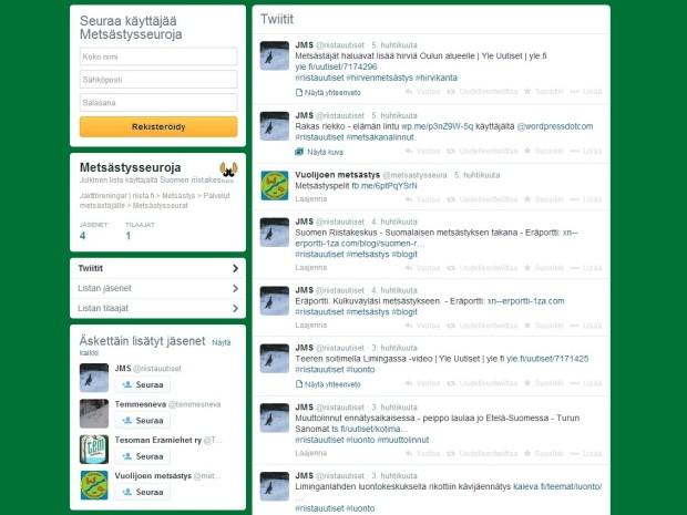 Hyvä aloituspaikka Twitterin seuraamiselle on esimerkiksi Metsästysseuroja-lista. Twiittaavia, listalta puuttuvia seuroja voi vinkata Suomen riistakeskukselle (@riistakeskus).
