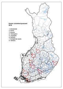 Susien ulostekeräysalueet 2015, kartta