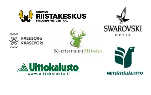 Logoja: Suomen riistakeskus, Swarowski, Raasepori, Kartanon riista, Uittokalusto ja Metsästäjäliitto.