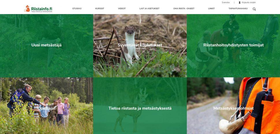 Näkymä Riistainfo-verkkosivun etusivulta.