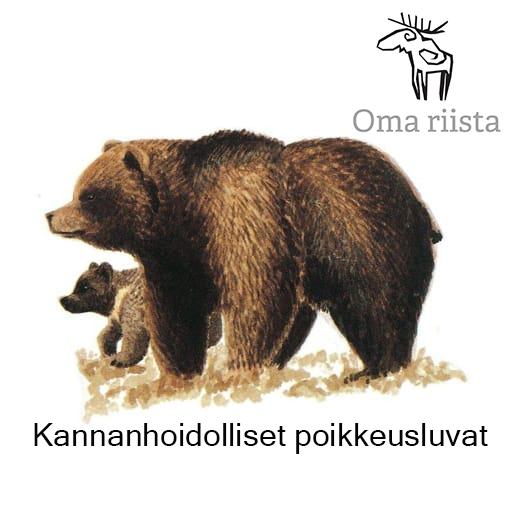 Täyskokoinen karhu ja pentu sekä Oma riista logo