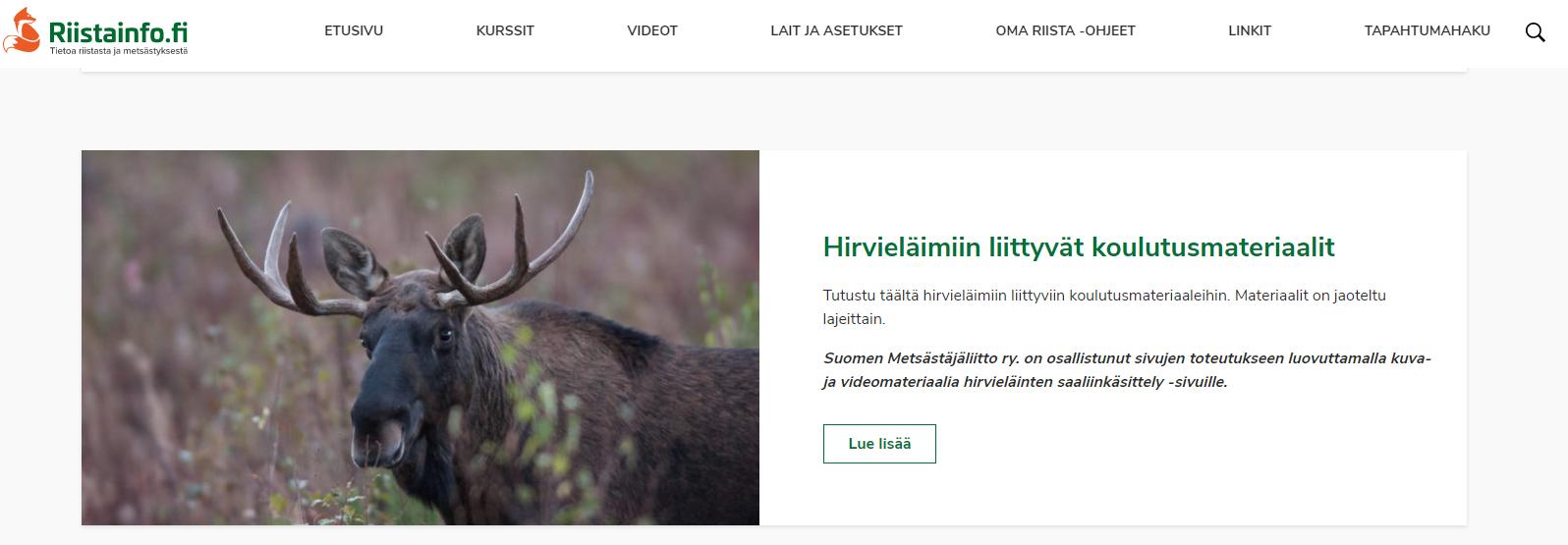Näkymä Riistainfo-verkkosivulta.