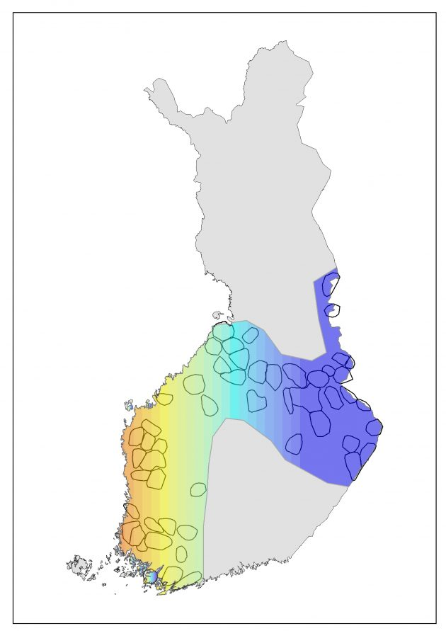 Suomen kartta, johon merkitty susien reviirit