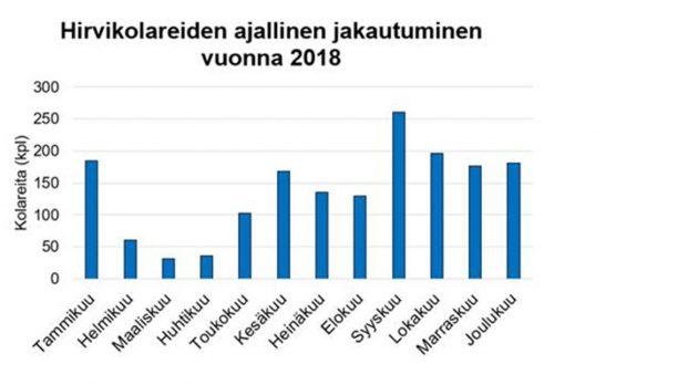 Hirvikolareiden ajallinen jakautuminen kuukausittain vuonna 2018