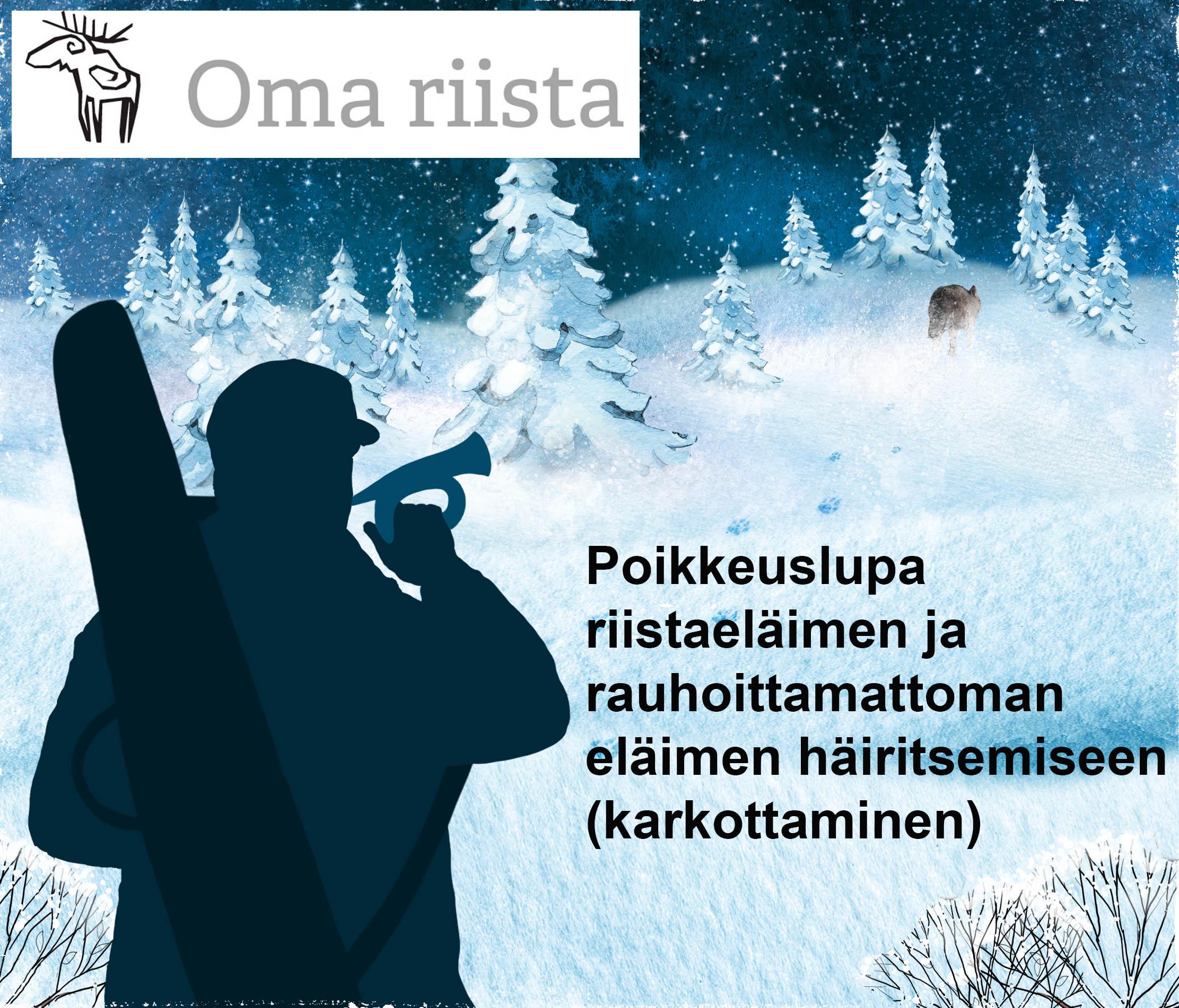 Piirros, jossa metsästäjä puhaltaa metsästystorveen ja eläin juoksee metsään jättäen lumeen jäljet.