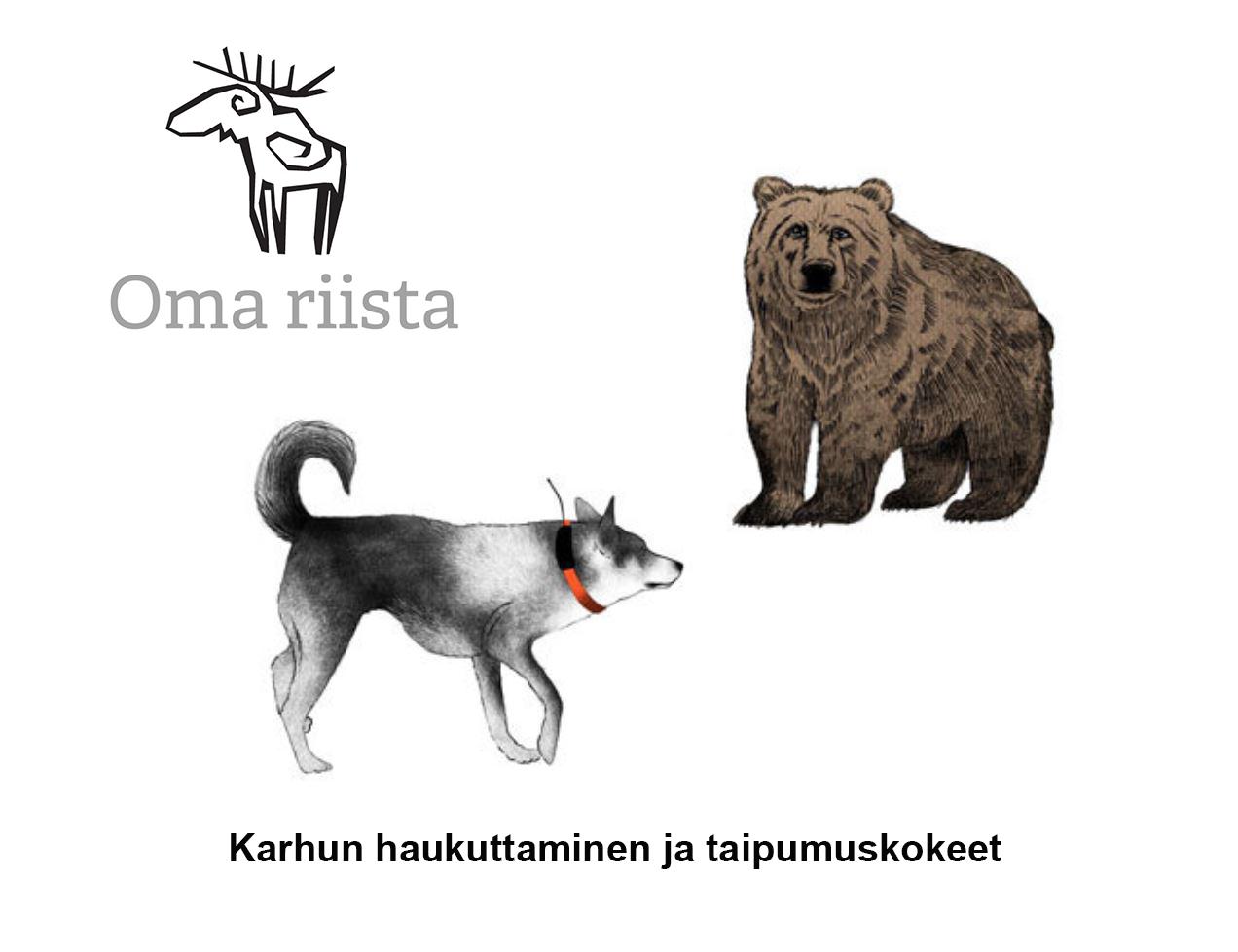 Metsästys koira ja karhu. Teksti: Karhun haukuttaminen ja taipumuskokeet. Oma riista -logo.