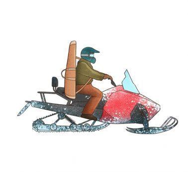 En jägare kör snöskoter.