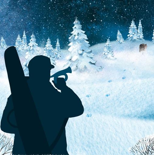 Metsästäjä puhaltaa torveen ja eläin pakenee metsään jättäen lumeen jälkiä.