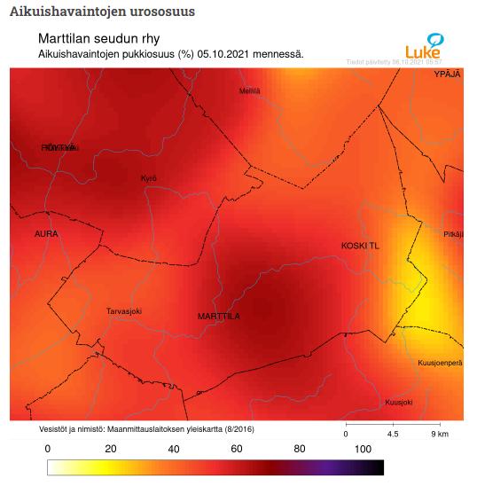 Kartta valkohäntäpeuran aikuishavaintojen urososuuksista